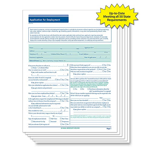 Employment Application Form - ComplyRight 50 State Compliant Job Application, Long Form, 50 Pack
