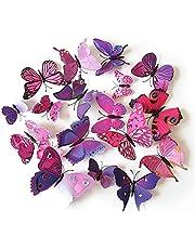 Set 12pcs 3D Pink Purple Mix Colour Butterfly Wall Stickers Decoration GF 132 1, Multi Color