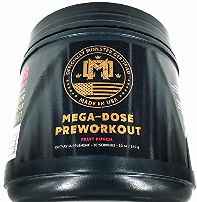 Monster Certified MEGA DOSE Preworkout, Strength, Energy, Focus, VASODILATION, Pump, Pain Reduction, Shred, THERMOGENIC, Set Recovery