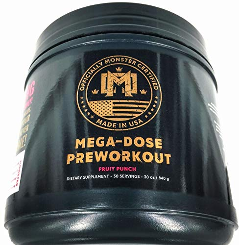 PREWORKOUT Energy Drink Mix- Monster Certified MEGA DOSE, 300mg Caffeine Strength, Energy, Focus, VASODILATION, Pump, Pain Reduction, Shred, THERMOGENIC, Set Recovery