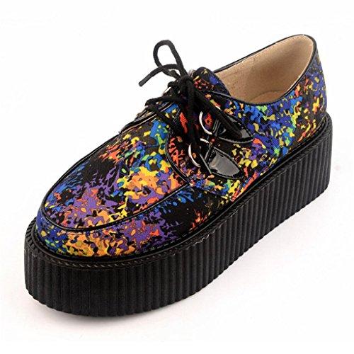 RoseG Mujer Zapatos Cordones Creepers Mezclado Color