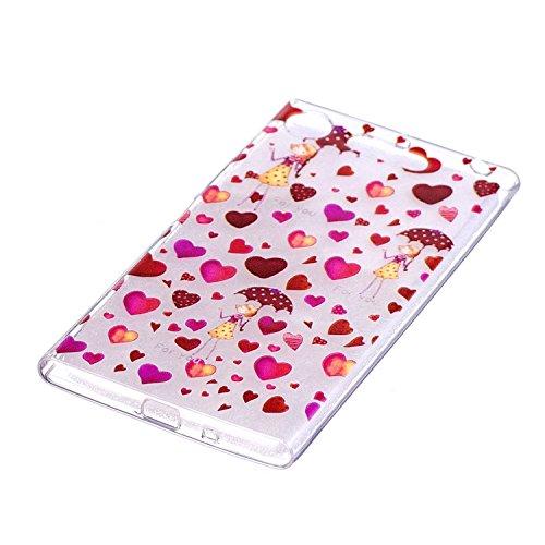 Funda Sony Xperia XZ1 , Carcasa Sony Xperia XZ1, Cristal Suave Gel Silicona TPU Carcasa para Sony Xperia XZ1 (5.2 Pulgadas) E-Lush Ultra Claro delgado Blanda Case Cover [Slim Fit] Transparente Flexibl Pequeño corazón rojo