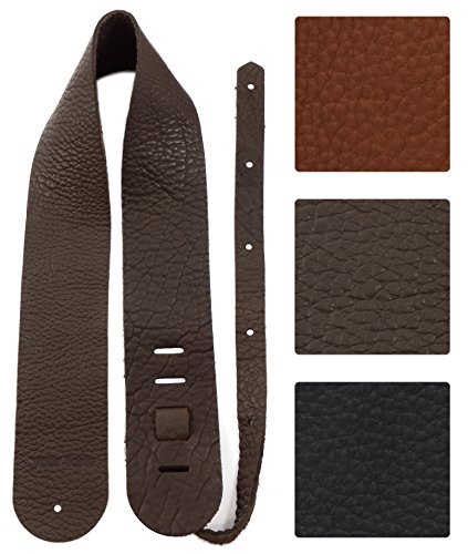 Guitar Straps Wood (Your Forte Leather Guitar Strap - Fits Acoustic, Electric, and Bass Guitars, Adjustable to Any Player - Cool Classic Vintage Look, American-made, Thin, Soft, Light, Comfortable, Durable, Bison Leather)
