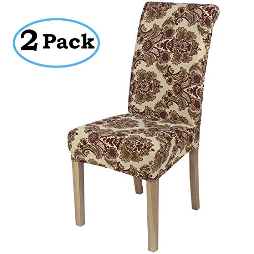 misaya Stretch Spandex Dining Room Chair Cover Removable Washable Chair Protector Flowers Painting Stool Seat Slipcover Set of 2, Retro Flowers