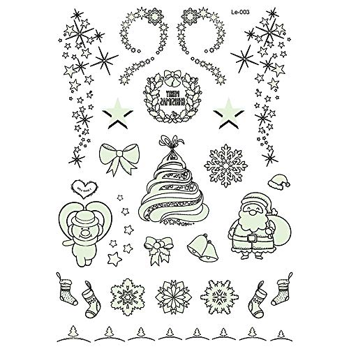Luminous Tattoo Glow in The Dark Glitter Christmas Tatoo Flash Fluorescent Temporary Tattoos Stickers Water Transfer Body Art (Le-003)