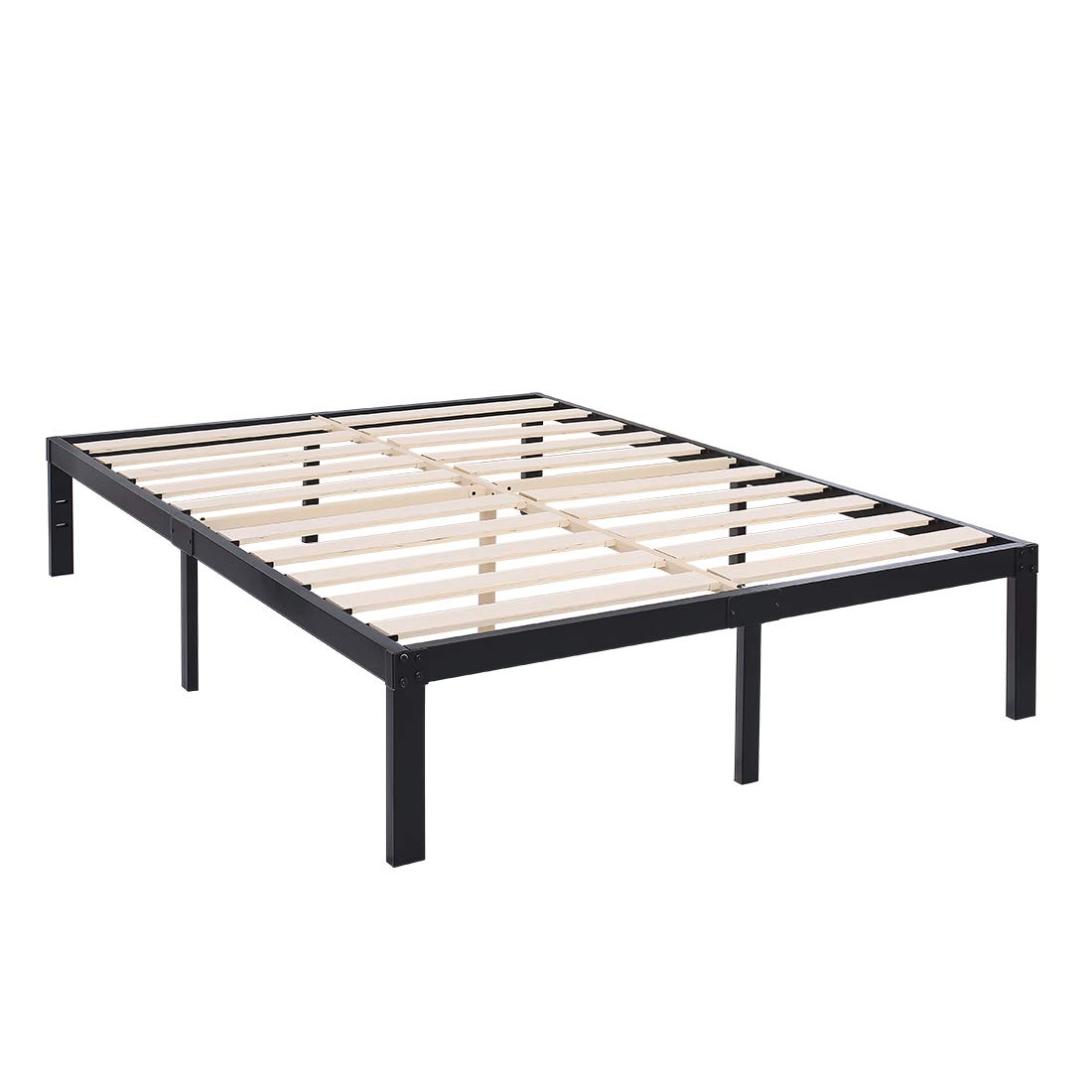 TATAGO 3500lbs Upgraded Heavy Duty Wooden Slats Platform Bed Frame, 14 Inch Tall Mattress Foundation, Extra-Strong Support, No Noise No Box Spring Needed, Queen