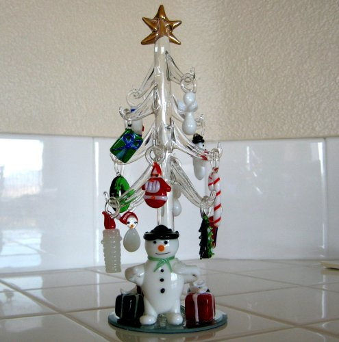 Mini Crystal Christmas Tree with Snowman and 15 Hand Blown Ornaments