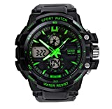 Fashion Boys Girls Multi-function Water-proof Quartz Sports Watches For 7-15 Years Old Green