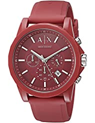 Armani Exchange Mens AX1328 Red Silicone Watch