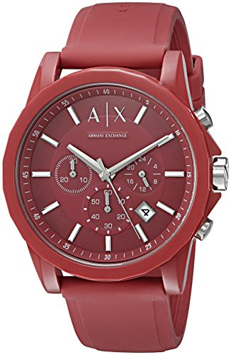 Armani Exchange Men's AX1328 Red Silicone (Armani Wrist Watches)