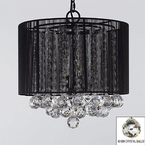 Crystal Chandelier Chandeliers With Large Black Shade Balls H15 x W15