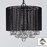 Crystal Chandelier Chandeliers With Large Black Shade & Balls ! H15″ x W15″ For Sale