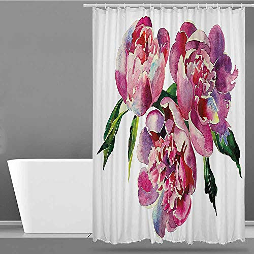 XXANS Home Decor Shower Curtain,Floral,Art Print Polyester,W94x72L Pink Lilac and Green