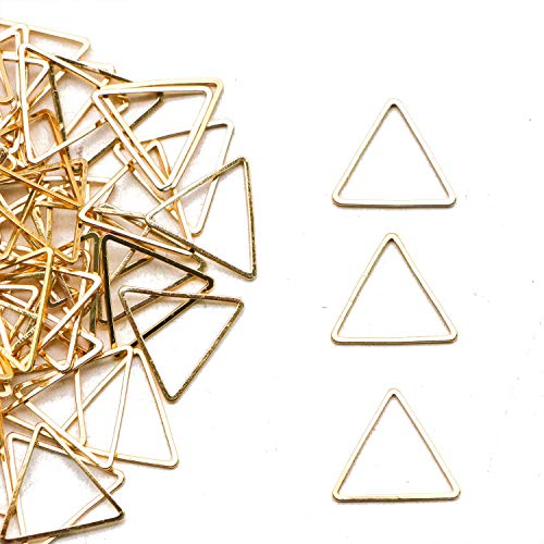 JETEHO 100Pcs CopperTriangle Pendant Connector DIY Necklace Bracelet Charms for Jewelry Making Accessaries,Golden ()