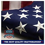 Outdoor Flags American Flag 3x5 ft - Embroidered Stars Sewn Stripes Brass Grommets U.S. Flags - Long Lasting Oxford Built for Outdoor Use