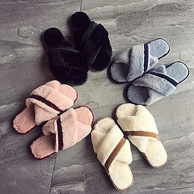 House Slippers for Women Memory Foam,Furry Fur Flip Flop Open Toe Cozy House Sandals Cross Anti-Slip Indoor Outdoor: Clothing