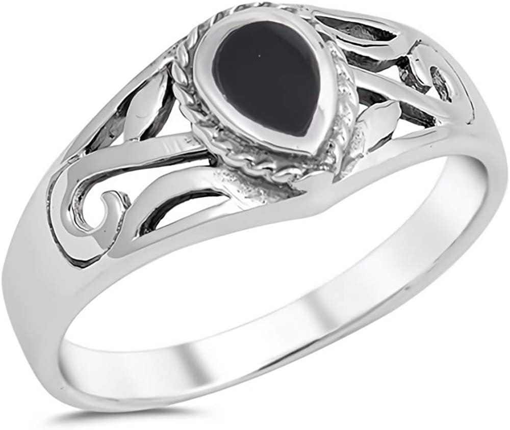 Ring Genuine Sterling Silver 925 Black Onyx Jewelry Gift Face Height 8 mm Size 7