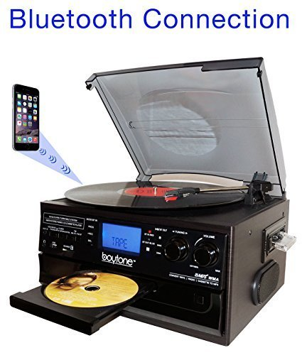 (Boytone BT-22B, Bluetooth Record Player Turntable, AM/FM Radio, Cassette, CD Player, 2 built in speaker, Ability to convert Vinyl, Radio, Cassette, CD to MP3 without a computer, SD Slot, USB, AUX)