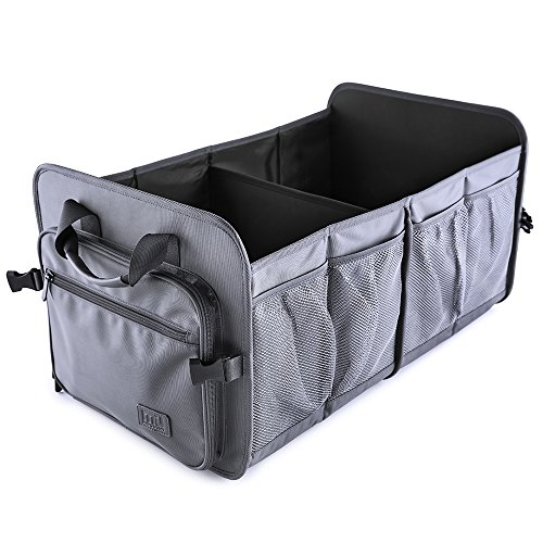 MIU COLOR Foldable Car Trunk Organizer Washable Automotive Waterproof Storage Box Cover Suitable SUV, Gunmetal Gray