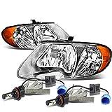 Dodge Grand Caravan / Chrysler Town & Country Pair of Chrome Housing Amber Corner Headlights + 6000K White LED Kit