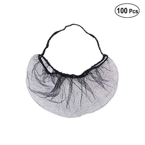ULTNICE 100pcs Disposable Beard Cover Honeycomb Beard Net Protector for Serving Facilities (Black) (Hair Net Mask)