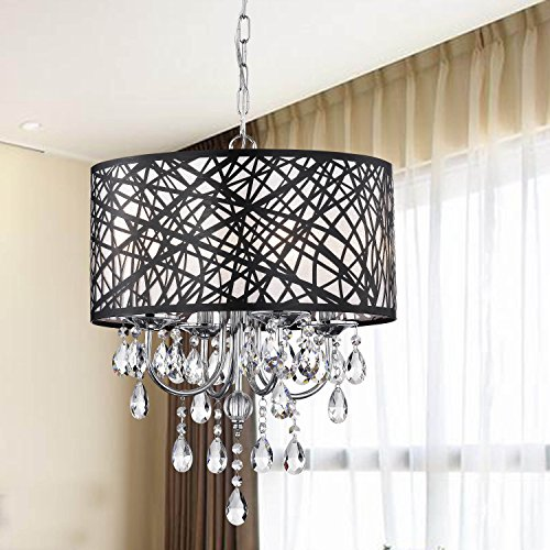 Indoor 4-Light Chrome Antique Black Chandelier