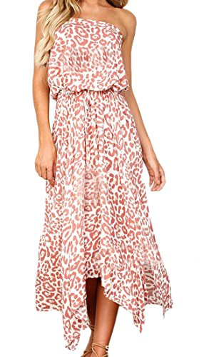 Back Womens Strapless Domple Drawstring Floral Side Slit Print Open Sundress Beach Pink SCnTqw8