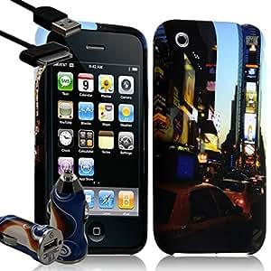 Seluxion - Carcasa para Apple iPhone 3G y 3GS (incluye cargador de encendedor de coche), diseño de taxi en Nueva York