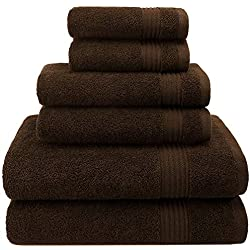Hotel & Spa Quality, Absorbent and Soft Decorative Kitchen and Bathroom Sets , Cotton, 6 Piece Turkish Towel Set, Includes 2 Bath Towels, 2 Hand Towels, 2 Washcloths, Chocolate Brown