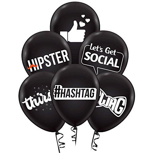 Social Media Party Balloons, Theme Birthday Decoration Supplies, 24pcs Black Premium Latex