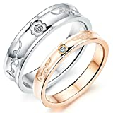 Aooaz Engagement Rings Wedding Bands Stainless Steel Womens Rings Mens Rings Silver Gold Cubic Zirconia Flower Rings With Free Engraving Womens 6 & Mens 8 Novelty Jewelry Gift