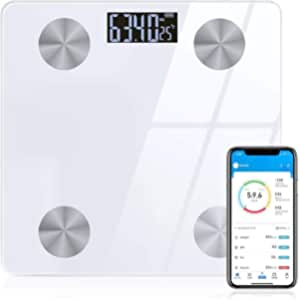 Sinocare Smart Bluetooth Body Fat Scale with APP,Digital Bathroom Scales Compatible with iOS/Android,for Body Weight,Body Fat,BMI, Muscle,12 Measurements (White-)