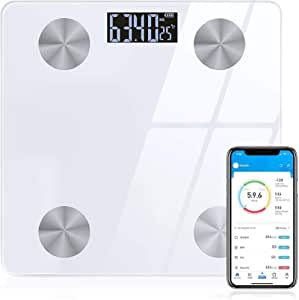 Sinocare Digital Bluetooth Body Fat Scale with APP, Smart Bathroom Scales Compatible with IOS/Android,for Body Weight,Body Fat, BMI, Muscle,12 Measurements (White)