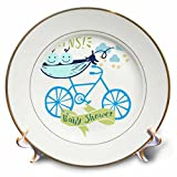3dRose RinaPiro - Kids - Twins. Boys. Baby shower. Announcement. Cute picture. - 8 inch Porcelain Plate (cp_261339_1)