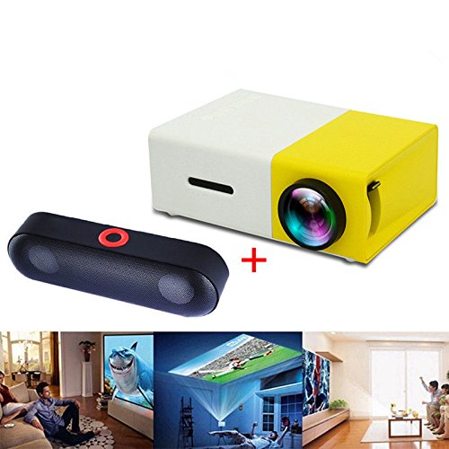 FidgetFidget YG-300 LCD LED Projector Mini Support 1080P Full HD Private Home Theater richele 1Yellow Projector+1Speaker US Plug