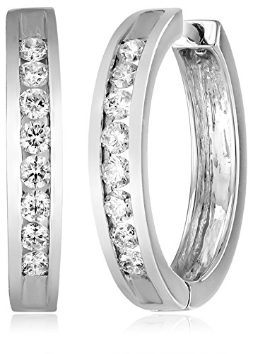 14k Gold Channel-set Diamond Hoop Earrings (1/2 cttw, H-I Color, I1-I2 Clarity) by Amazon Collection