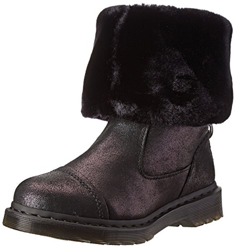 Dr para mujer Pasha Martens Triumph negro de pelo Rigger de lluvia sobre acabado metálico diseño agrietado de piel sintética y ante con forro botas de (sintética) juego de tarjetas altas