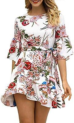 ZSRHH-Falda Vestido de Mujer Cuello Redondo con Estampado Floral ...