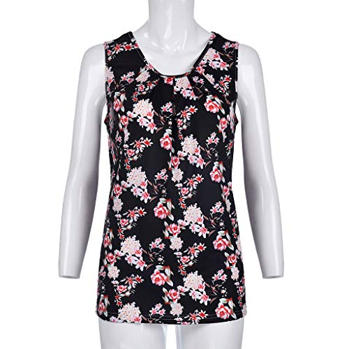 FDSD Women Top Womens Tank Tops O-Neck Sleeveless Loose Floral Printed Summer Casual Vest Shirt Blouse Cami (L, Black) by FDSD Women Top (Image #4)