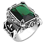 Epinki Stainless Steel Mens Dark Big Stone Classic Punk Size 8 Ring