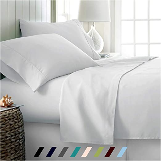 Deep Pocket 4 PC or 6 PC Sheet Set 1000 Thread Count Egyptian Cotton Moss Solid