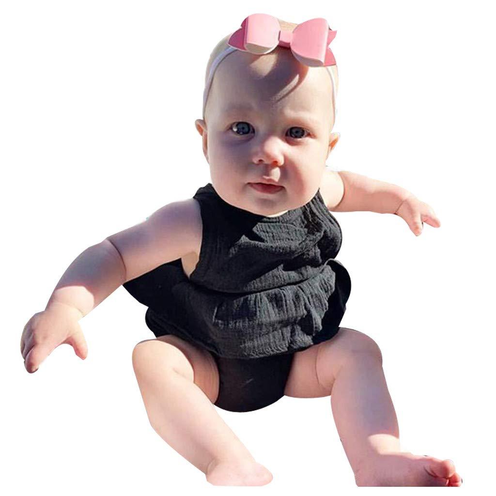 NUWFOR Newborn Infant Baby Girl Boy Sleeveless Solid Ruffle Romper Bodysuit Clothes(Black,0-6 Months)
