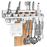 MOOLO Storage Racks Shelf Storage Rack Spice Kitchen Space Aluminum Punching Double cup (Size : 600x110x110mm)