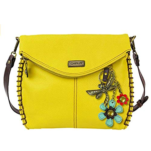 Flap Charming Chala Zipper Cross Handbag Bag Dragonfly With and Shoulder with Metal Purse Chain Mustard Body Crossbody Flap or Top qIw4wg