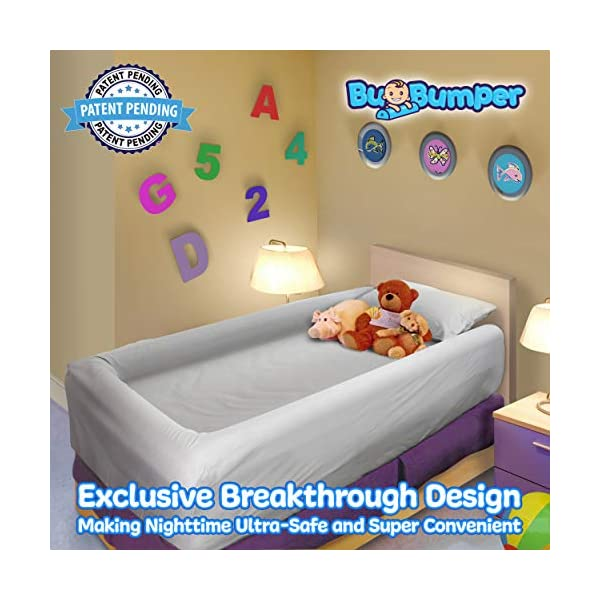3-Sided Bed Rail for Toddler | Soft Foam Bed Bumper for Kids | Protects Your Child from All Sides! | Baby Bed Guard | Child Bed Safety Side Rails with Water Resistant Washable Cover (Full Size) 3