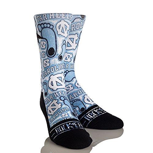 (NCAA North Carolina Tar Heels Logo Sketch University Custom Athletic Crew Socks, Large/X-Large, Carolina Blue)