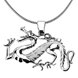 925 Sterling Silver Chinese Dragon Charm Pendant Necklace, 18''