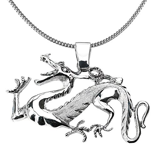 925 Sterling Silver Chinese Dragon Charm Pendant Necklace, 18'' by Good Luck Charms