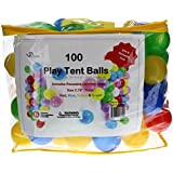 Pack of 100 Phthalate Free BPA Free Crush Proof Plastic Balls, Pit Balls - 4 Bright Colors in Reusable and Durable Carrying Case with Zipper by Oojami