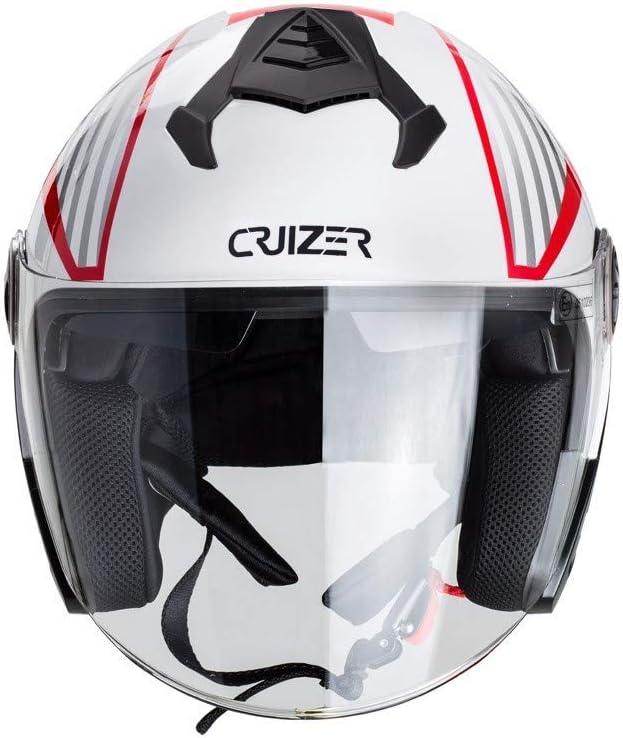 CRUIZER–casco para moto Jet con gráfica roja homologado con visera antiarañazos, Interior extraíble y lavable, Cierre con hebilla micrométrica M Bianco